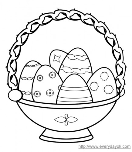 Easter eggs in a basket for coloring