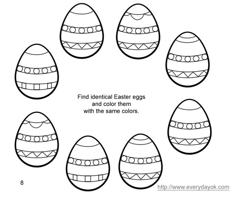 8 Easter Eggs for Coloring