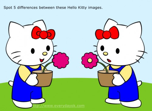 Hello Kitty with flower spot 5 differences image